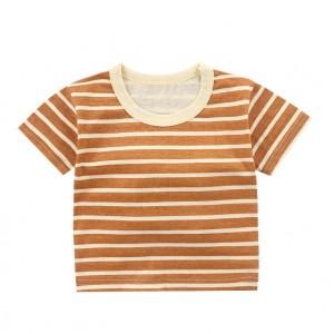 Contrast Round Neck Striped Summer Wear Boys Girls Unisex T-Shirt - Brown