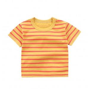 Contrast Round Neck Striped Summer Wear Boys Girls Unisex T-Shirt - Yellow