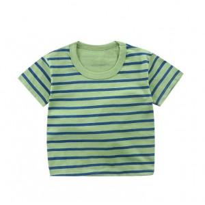 Contrast Round Neck Striped Summer Wear Boys Girls Unisex T-Shirt - Green