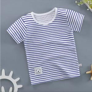 Round Neck Striped Summer Wear Boys Girls Unisex T-Shirt - Blue
