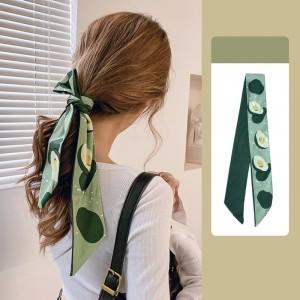 Fruit Printed Vintage Bow Rope Hair Tied Scarf Ribbon - Green