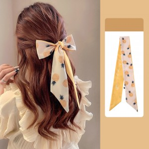 Pineapple Printed Vintage Bow Rope Hair Tied Scarf Ribbon - Yellow