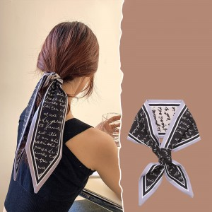 Letter Vintage Bow Rope Hair Tied Scarf Ribbon - Black