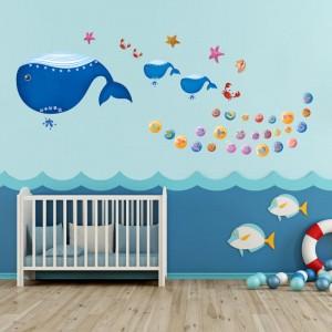Big Whale Pattern Cute Background Decoration for Kindergarten Classroom Bedroom