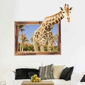 False Window 3D Giraffe Animal Wall Sticker Background Decoration Emulation