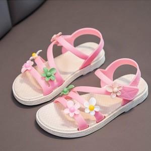 Floral Patch Velcro Closure Flat Kids Wear Sandals - Pink