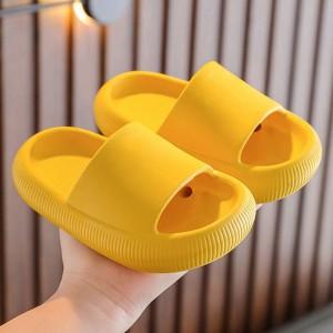 Solid Color Flat Wear Women Casual Wear Slippers - Yellow