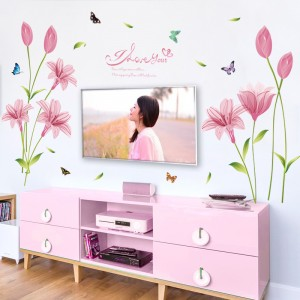 Pink Lily Flowers Wall Art Stickers Decal TV Sofa Living Room Wallpaper