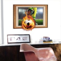 Firing Football 3d Picture Wall Stickers For Kids Room Bedroom Home Decoration