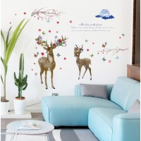 Flower Deer Wall Sticker Living Room Bedroom Wall Decals Christmas Home Decor