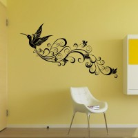 Beautiful Flying Long Tail Peacock Wall Decal Sticker Home Room Decal