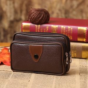 Double Layer Zipper Closure Unisex Outdoor Sports Travel Wallet - Brown