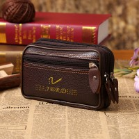 Synthetic Leather Double Layer Zipper Closure Unisex Outdoor Sports Travel Wallet - Brown