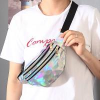 Glitter Design Adjustable Strap Zipper Closure Travel Bag - Silver