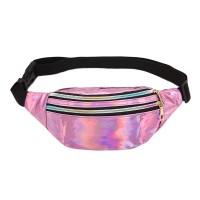 Glitter Design Adjustable Strap Zipper Closure Travel Bag - Purple