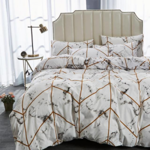 6 Pieces King Size Marble Design Bedding Set Without Filler