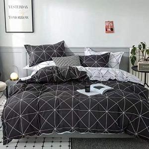 Single Size 4 Pieces Geometric Design Duvet Cover Set Without Filler - Grey Color