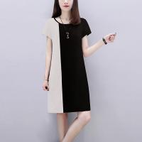Contrast Round Neck Short Sleeves Mini Dress