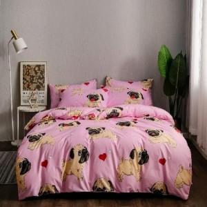 6 Pieces Queen / Double Size Cute Dog Design Blush Color Bedding Set Without Filler