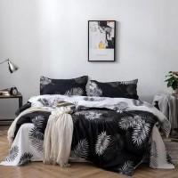 6 Pieces King Size Leaves Design Black Color Bedding Set Without Filler