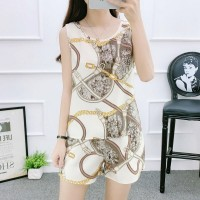 Round Neck Sleeveless Graphic Printed Two Pieces Suit - White