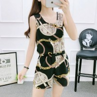Round Neck Sleeveless Graphic Printed Two Pieces Suit - Black