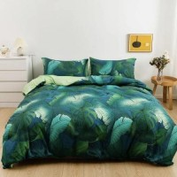 6 Pieces Queen/Double Size Palm Leaves Design Bedding Set Without Filler