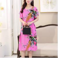 Round Neck Printed Summer Wear Casual Midi Dress
