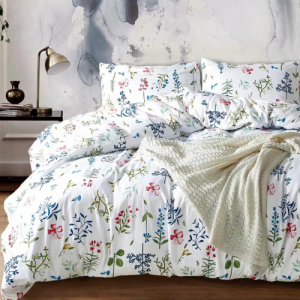 6 Pieces King Size Leaves Design White Color Bedding Set Without Filler