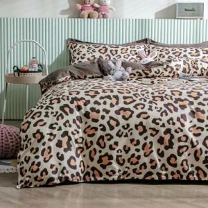 Queen/Double Size 6 Pieces Leopard Design Duvet Cover Set Without Filler