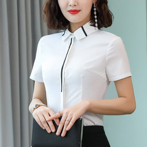 Fitted Formal Office Style Vintage Solid Color Blouse Top - White