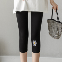 Body Fitted Floral Thread Art Short Length Trouser Pant