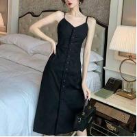 Button Closure Spaghetti Strap Midi Summer Dress - Black