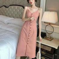 Button Closure Spaghetti Strap Midi Summer Dress - Pink