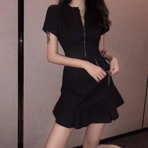 Flared Hem O Neck Solid Color Mini Dress - Black