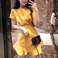 Flared Hem O Neck Solid Color Mini Dress - Yellow