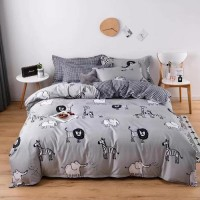 Single Size 4 Pieces Grey Color Animals Design Duvet Cover Set Without Filler