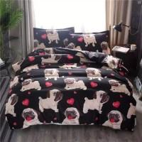 Single Size 4 Pieces Brown Color Dog Design Duvet Cover Set Without Filler