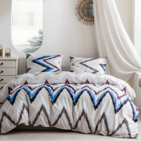 6 Pieces King Size Zigzag Design Bedding Set Without Filler