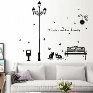 Large Cats Wall Sticker Street Lamp Stickers Sofa Wall Decoration