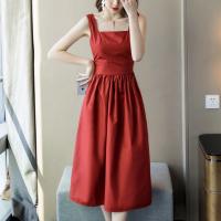 Square Neck Solid Color Casual Wear Midi Dress - Red