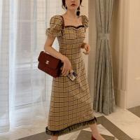 Sweet Heart Neck Geometric Printed Puff Shoulder Midi Dress