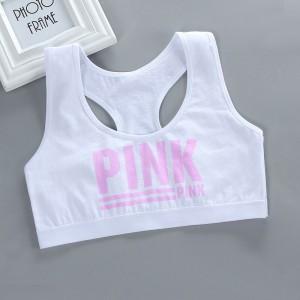 Strap Shoulder Sleeveless Alphabetic Print Sports Wear Bra Top - White