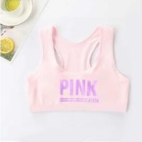Strap Shoulder Sleeveless Alphabetic Print Sports Wear Bra Top - Pink