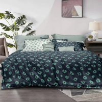 King Size 6 Pieces Denim Color Animal Print Design Duvet Cover Set Without Filler