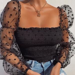 Puff Sleeves Polka Print Square Neck Summer Top - Black