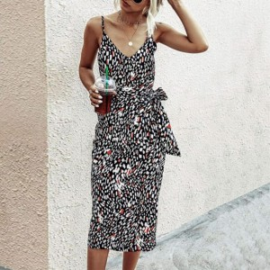 Spaghetti Strap Graphic Printed Body Fitted Mini Dress - Black and White