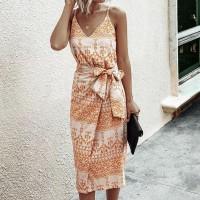 Spaghetti Strap Waist Knot Midi Dress - Orange