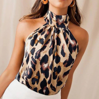Leopard Printed Halter Neck Women Fashion Blouse Top