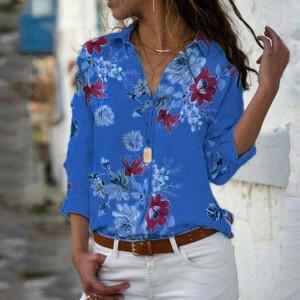 Floral Printed Summer Beach Wear Casual Shirt - Blue